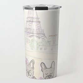 French Bulldogs and Tea in Paris with Eiffel Tower View Travel Mug