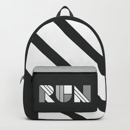 Run - Geometric Shapes ( White & Silver) Backpack