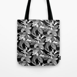 Mixed Paradise Tropicals in Black and White Tote Bag