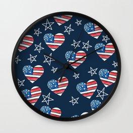 American Flag Heart Wall Clock