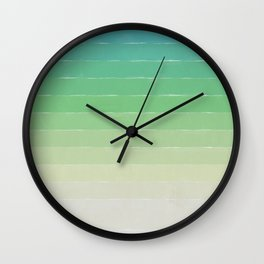 Shades of Ocean Water - Abstract Geometric Line Gradient Pattern between See Green and White Wall Clock