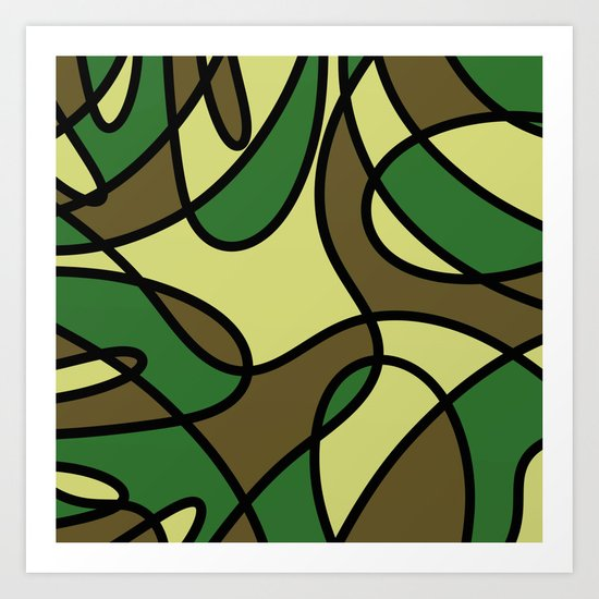 Camo Curves - Abstract, camouflage coloured pattern Art Print