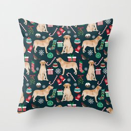 Yellow Labrador retriever christmas festive holiday gifts for dog person dog lover labrador retrieve Throw Pillow