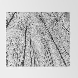 Monochrome Snow Trees Throw Blanket