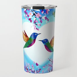 Hummingbirds and Cherry Blossoms with Butterflies Travel Mug
