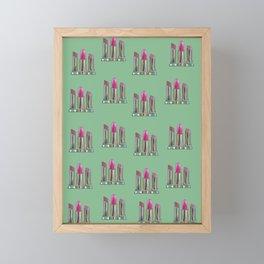 Pink Lipsticks on Green  Framed Mini Art Print