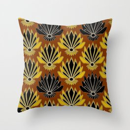 ART DECO YELLOW BLACK COFFEE BROWN AGAVE ABSTRACT Throw Pillow