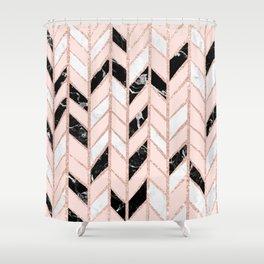 Rose gold glitter chevron herringbone black white marble pattern Shower Curtain