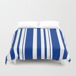 White and blue striped . Duvet Cover