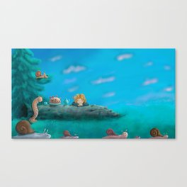 Forest dinner with caterpillars Canvas Print