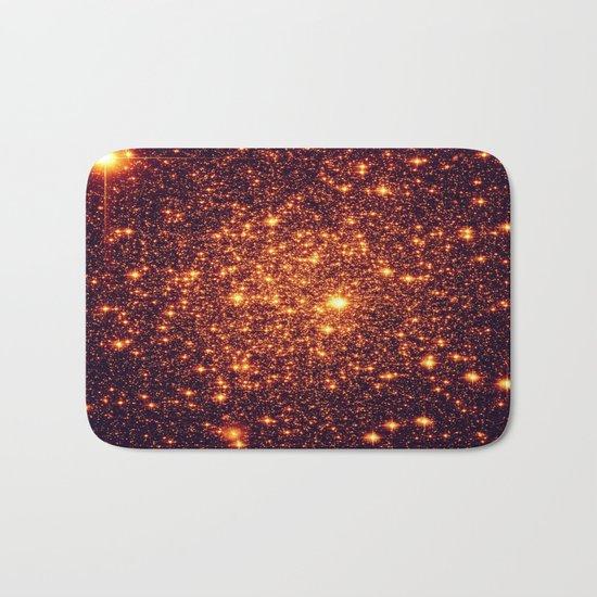 Copper Bronze Glitter Stars Bath Mat