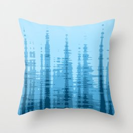Light Blue and Navy Wave Abstract Throw Pillow