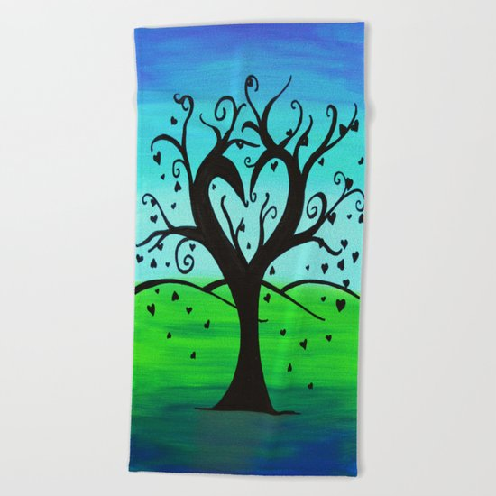 Untitled- Heart Tree Beach Towel