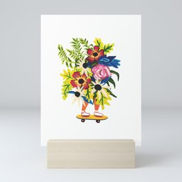 Skate Board Floral Babe Mini Art Print