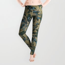 Teal Blue, Green and Gold - leaves art nouveau Leggings