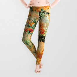 Vintage & Shabby Chic -  Sunny Gold Botanical Flowers Summer Day Leggings