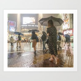 Rain In Shibuya Art Print
