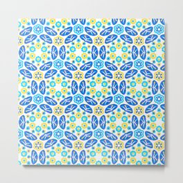Blue & Yellow Ditsy Daisy Flower Circle,Ocean Turquoise Floral  Circles Metal Print
