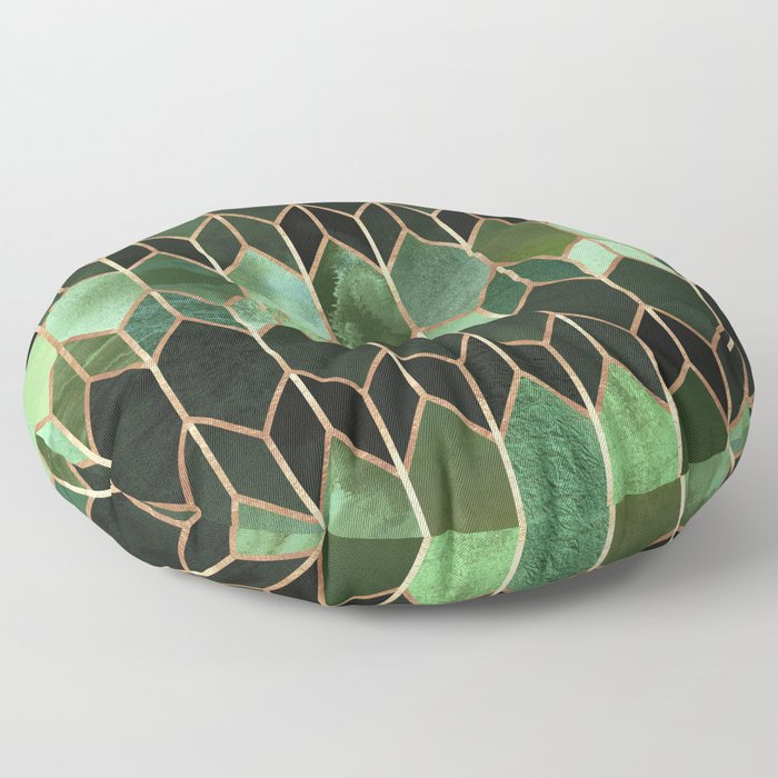 Stained Glass 5 - Forest Green Floor Pillow
