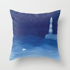 Lighthouse & the paper boat, blue ocean Throw Pillow