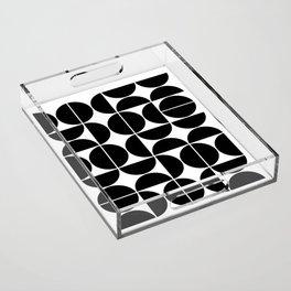 Mid Century Modern Geometric 04 Black Acrylic Tray