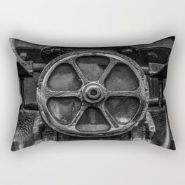 Trivial Pursuits Steam Train Detail Abstract Vintage Railroad Photography Black and White Rectangular Pillow