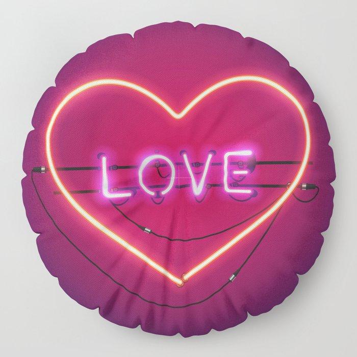 Pink Love in the Heart Neon Sign Floor Pillow