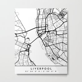 LIVERPOOL ENGLAND BLACK CITY STREET MAP ART Metal Print