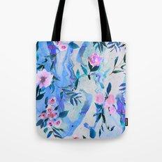 Floral Marble Swirl Tote Bag