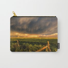 Breadbasket - Golden Light Illuminates Fence and Field in Kansas Carry-All Pouch