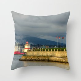 Vancouver Canada Stanley Park Lighthouses Bay Berth Cities Building Pier Marinas Houses Throw Pillow