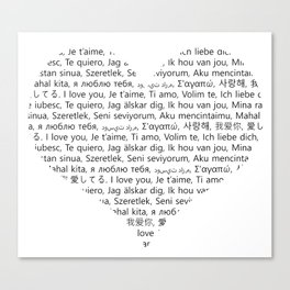 I love You (In 20 Languages) Canvas Print