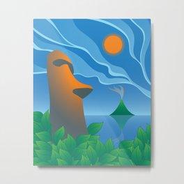 Moai, Tropical Tiki Bar Metal Print