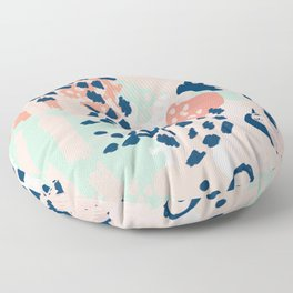 Kala - abstract painting minimal coral mint navy color palette boho hipster decor nursery Floor Pillow