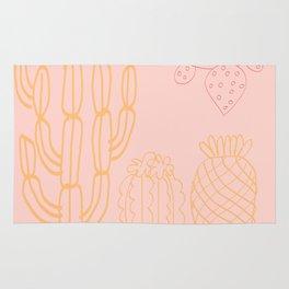 Pastel cactus in desert Rug