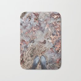 Frozen Fall Puddles Bath Mat