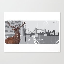 Cityscape Deer Canvas Print