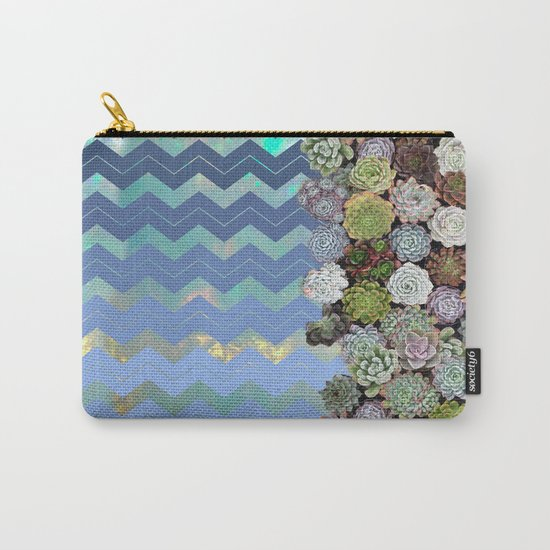 Opal & Succulent Chevron Pattern Carry-All Pouch