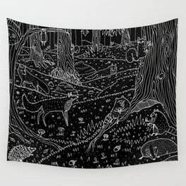 Nocturnal Animals of the Forest Wall Tapestry