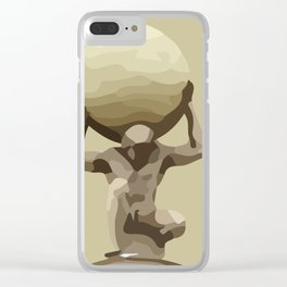 Man with Big Ball Illustration light brown Clear iPhone Case