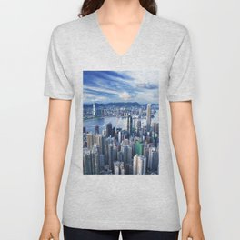 Hong Kong-Buildings Unisex V-Neck