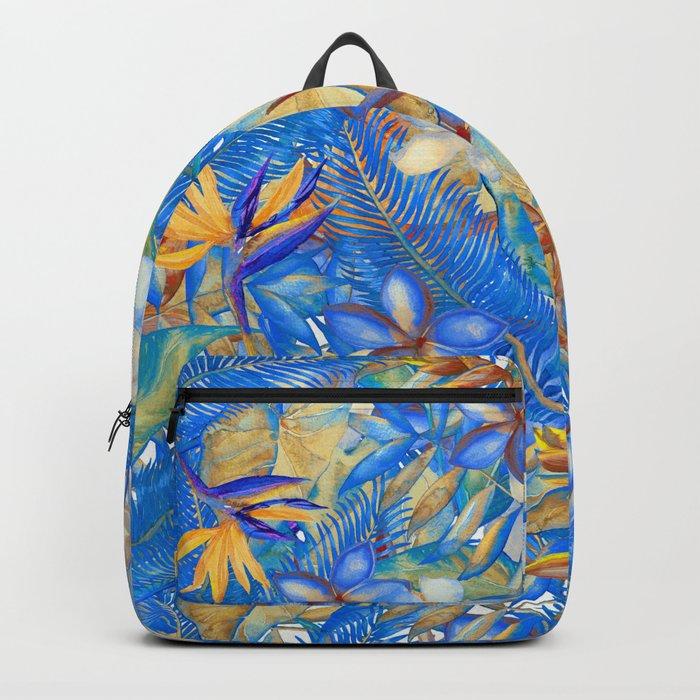 My Blue Aloha Tropical Flower Hibiscus Garden Backpack