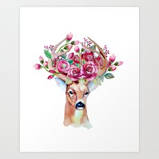 Shy watercolor floral deer Art Print