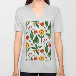 Yellow pink green watercolor tulips pansies pattern Unisex V-Neck