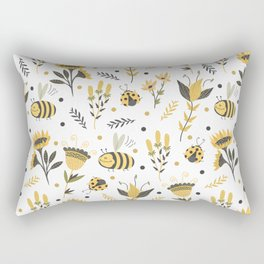 Bees and ladybugs. Gold and black Rectangular Pillow
