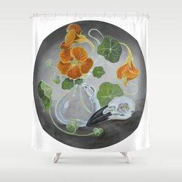 Stilllife with Tropaeolum majus, bird skull and a glass vase Shower Curtain