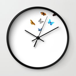 A Blowball With Colorful Butterflies Dandelion Make A Wish Wall Clock