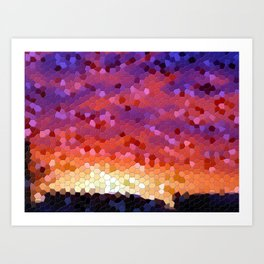 Sunset fiery sky mosaic tile Art Print