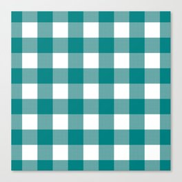 Gingham (Teal/White) Canvas Print