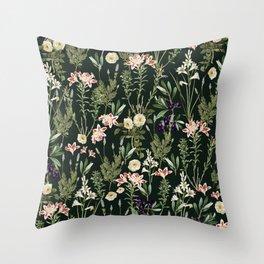 Dark Botanical Garden #society6 #natureart #pattern Throw Pillow
